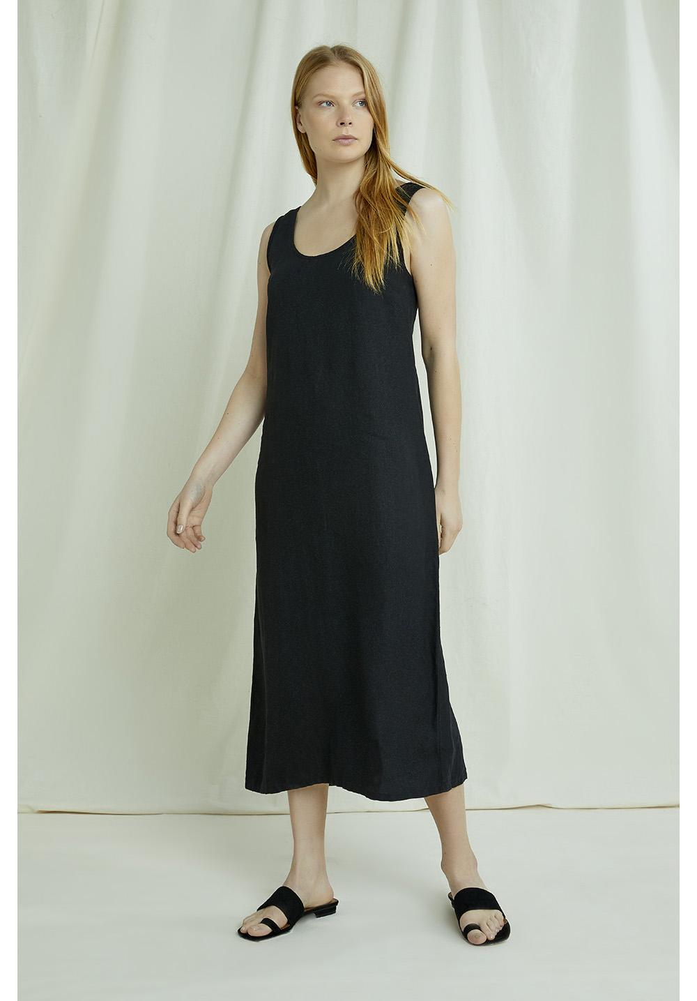 Alana Linen Dress In Black 12