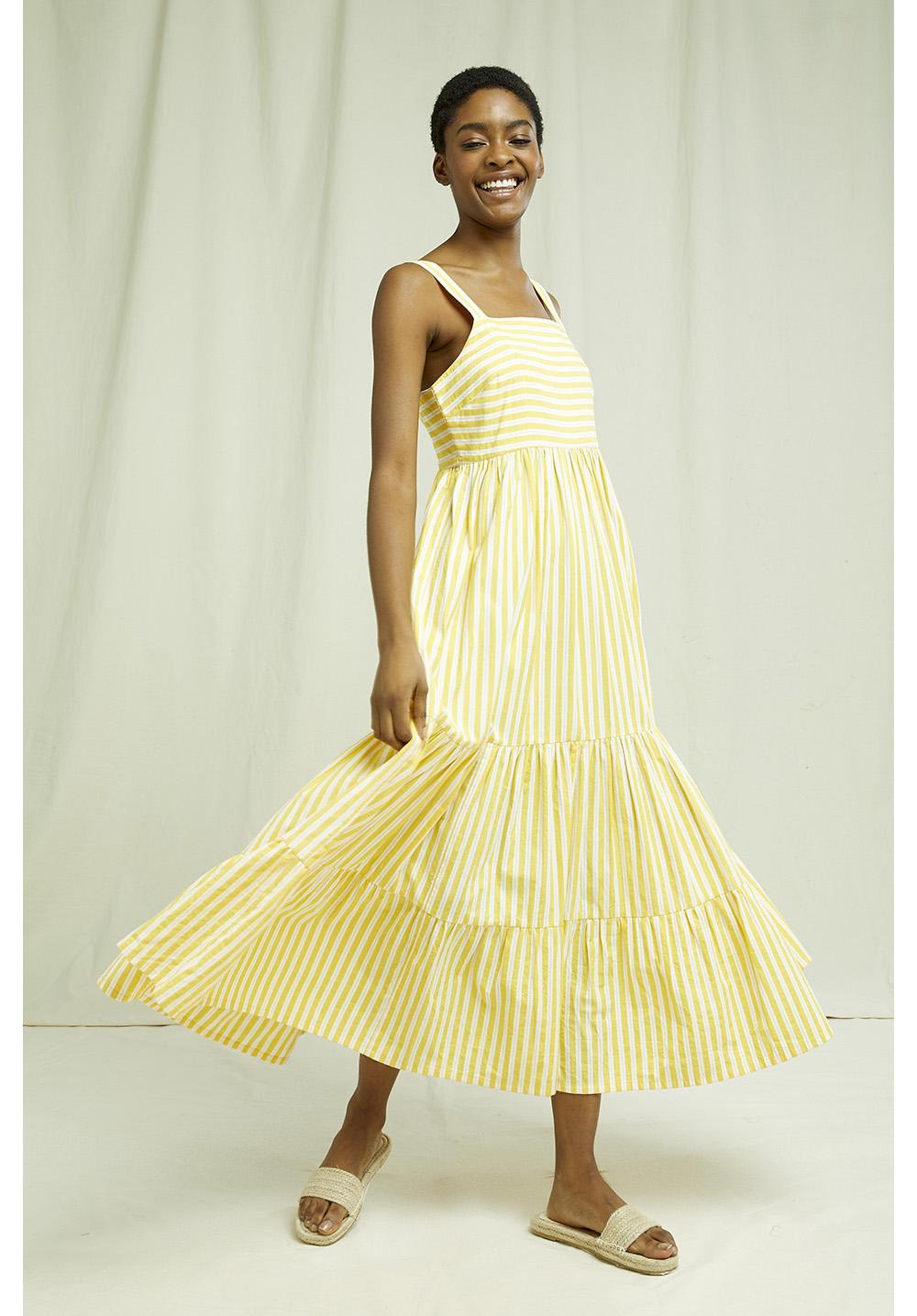 Lea Striped Dress In Yellow