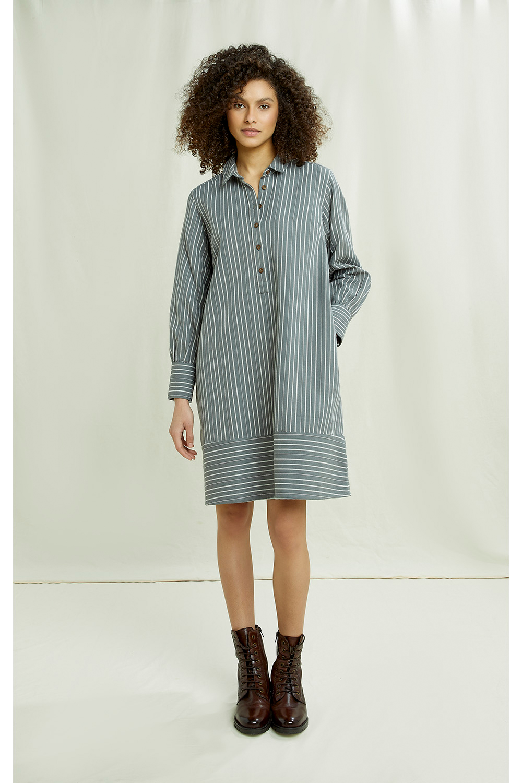 Roberta Striped Dress in Grey