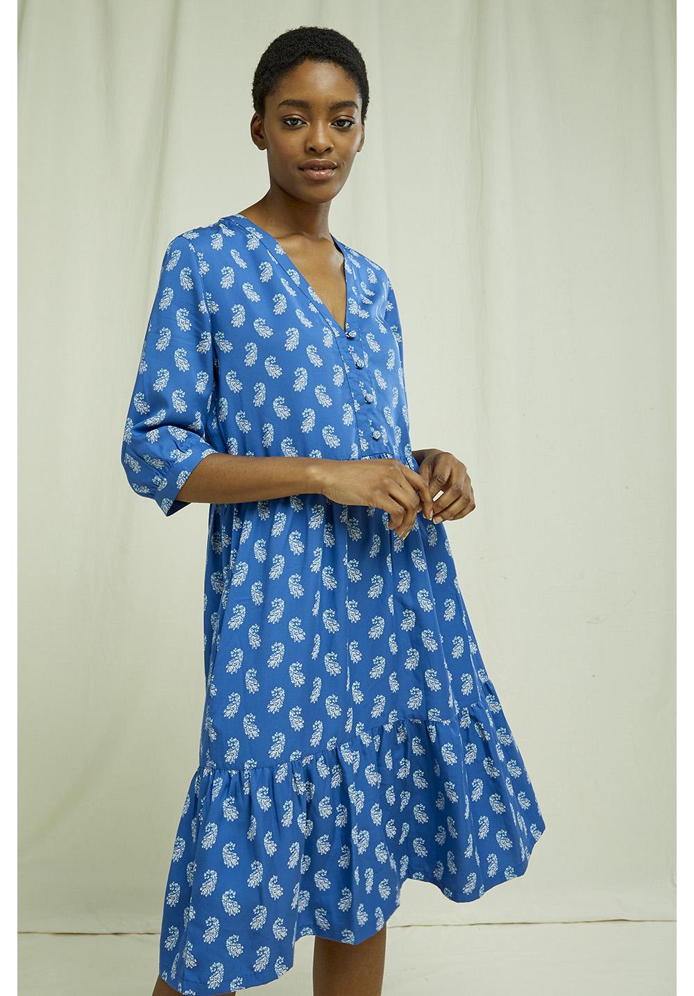 V & A Neha Print V-neck Dress