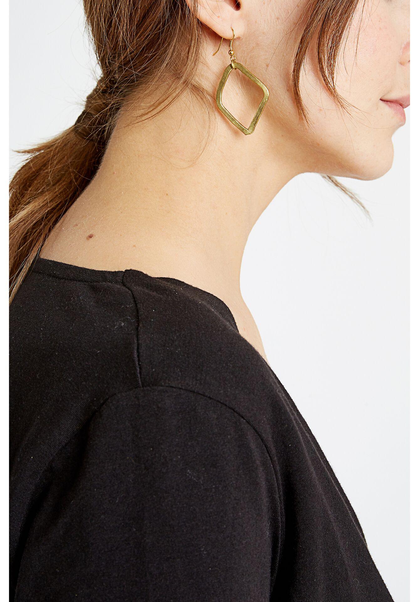 Large Diamond Shaped Earrings in Brass