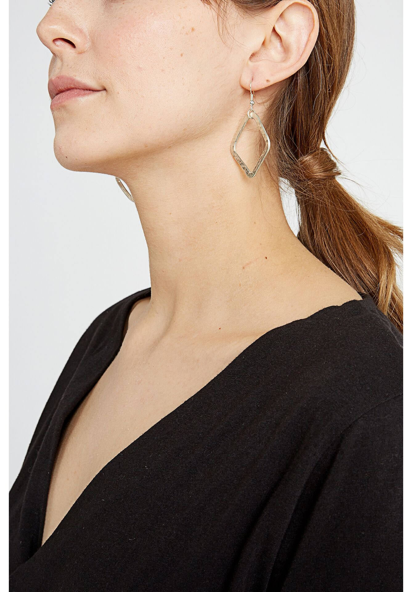 Large Diamond Shaped Earrings in Silver