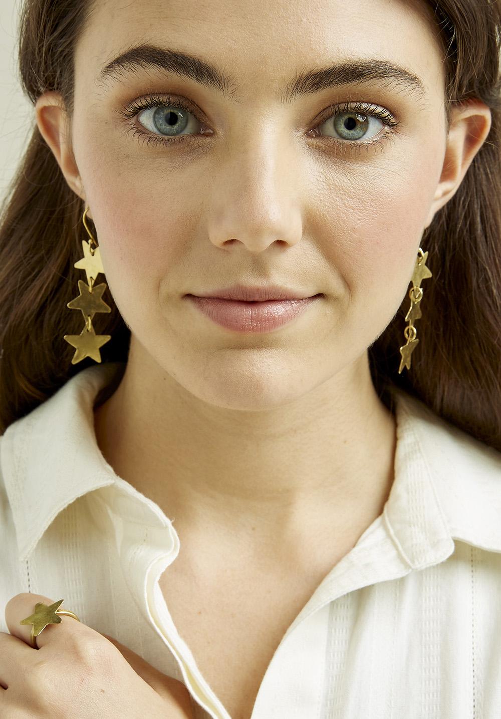 Stardrop Earrings - Brass