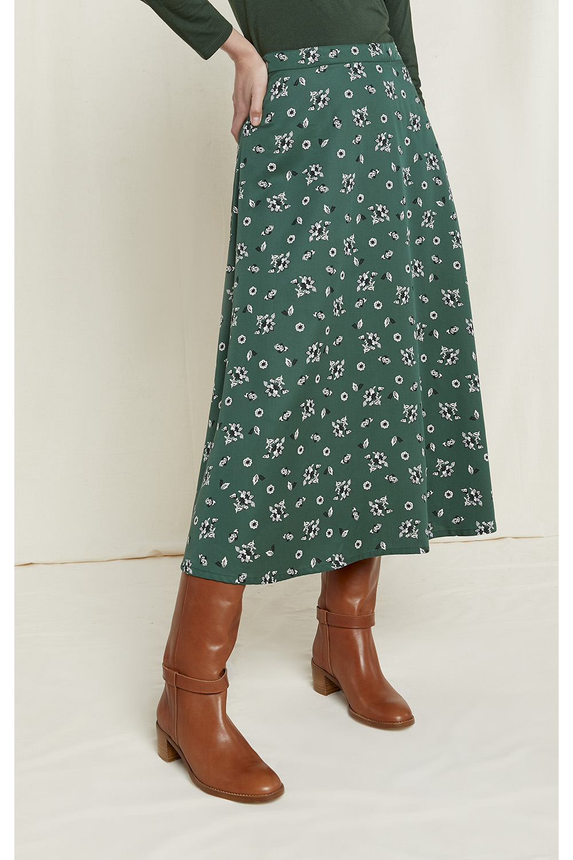 Alison Floral Skirt in Dark Green 16