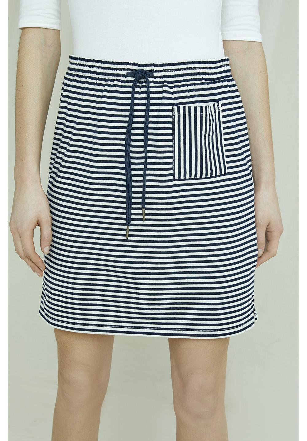Leia Stripe Skirt In Navy & White
