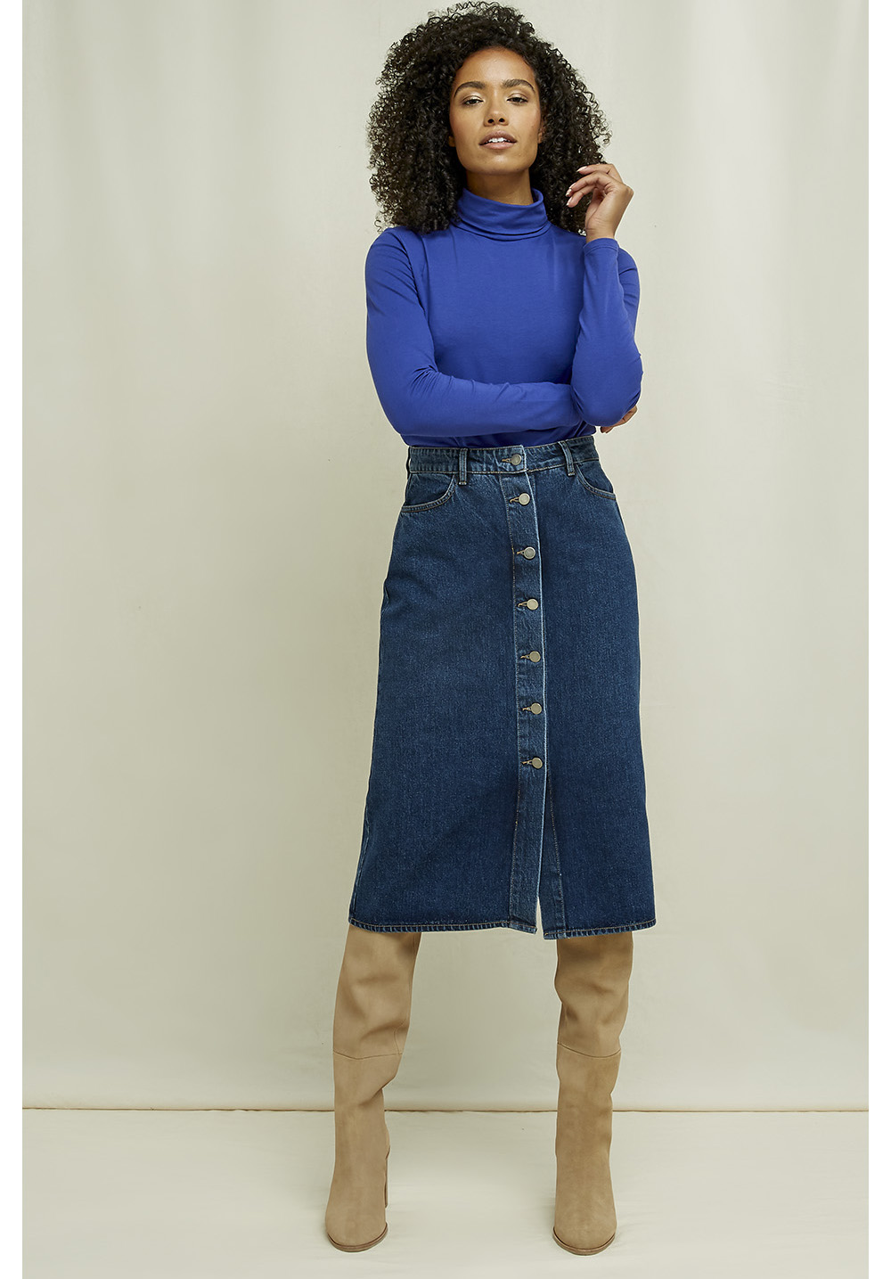 Stacey Denim Midi Skirt 14