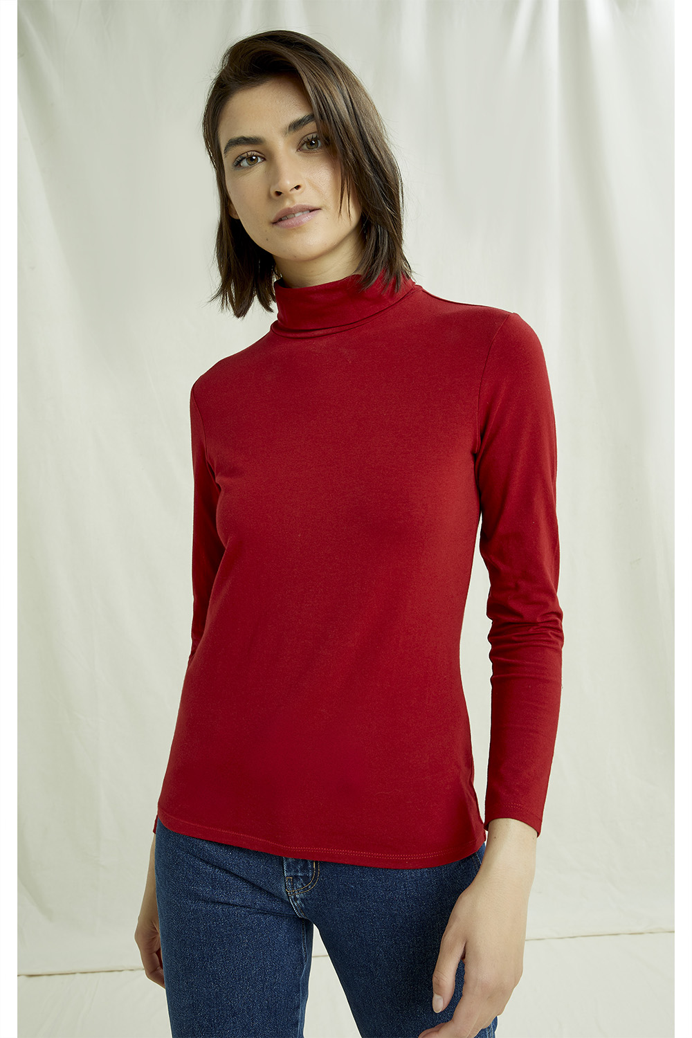 Laila Roll Neck Top in Red 8