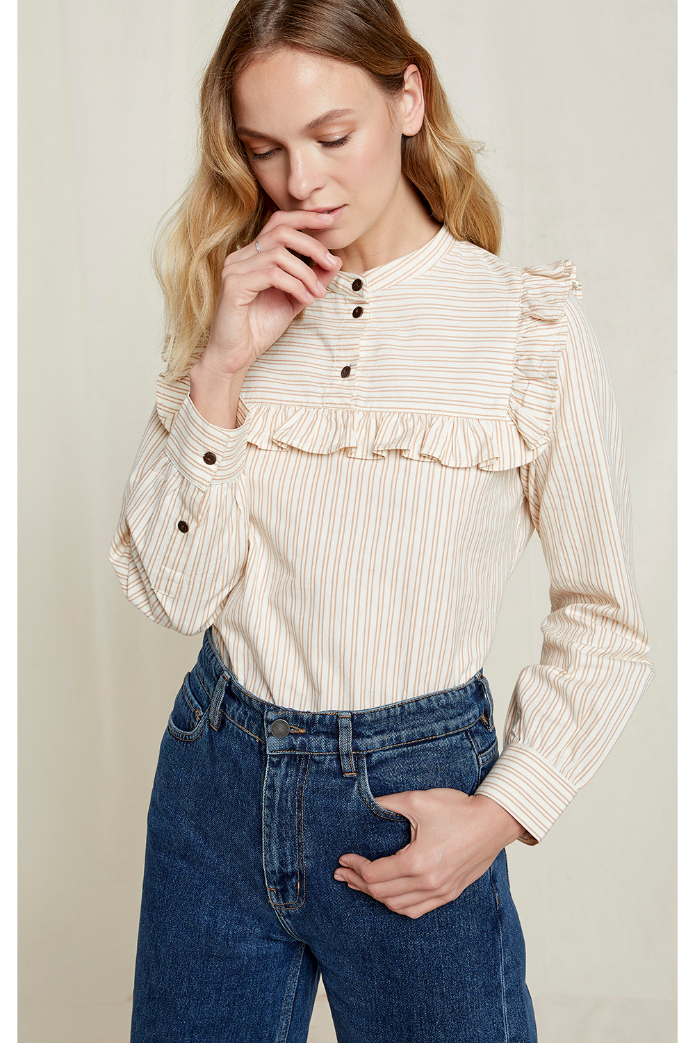 Alix Striped Blouse in Off White 16