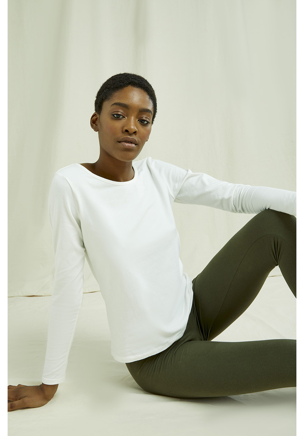 Fallon Long Sleeve Top in White 14