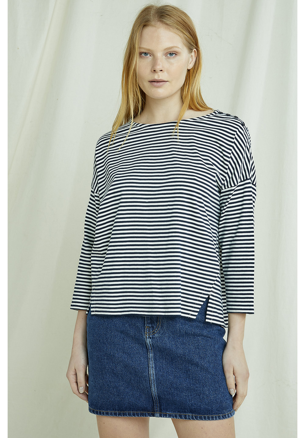 Roma Stripe Top In Navy 8