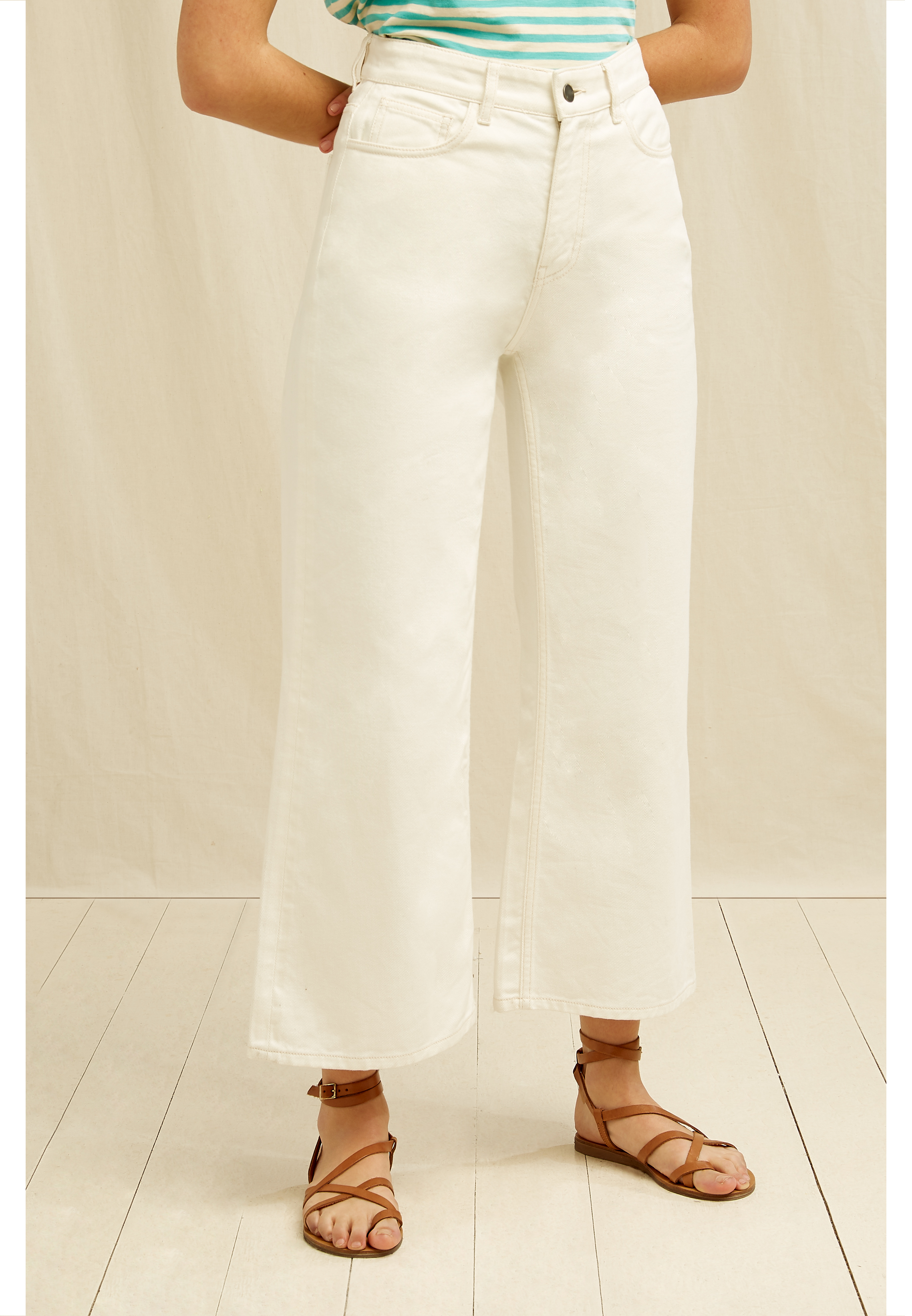 Ariel Wide Leg Jean In Cream 16