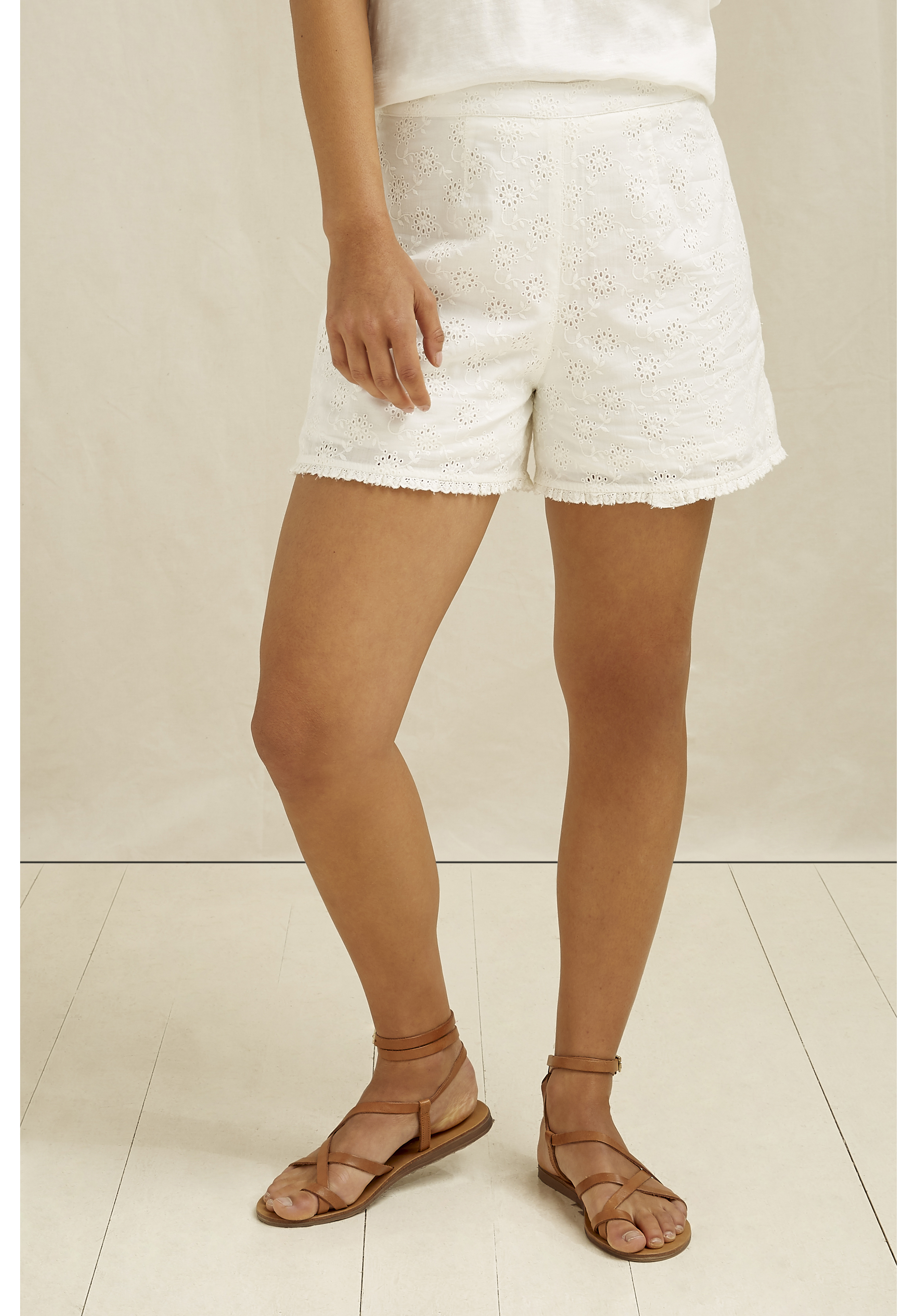 Nova Broderie Shorts In White 10