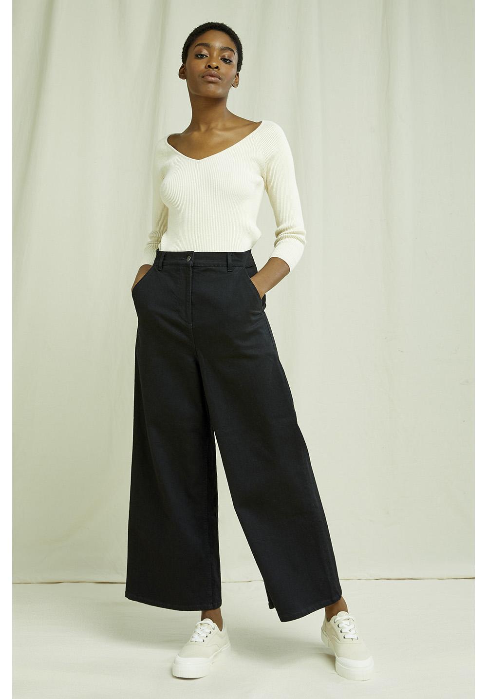 Rochelle Wide Leg Trousers In Black