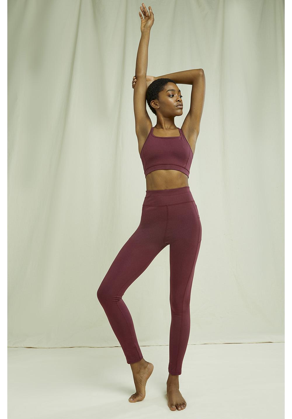 Yoga Pocket Leggings In Burgundy
