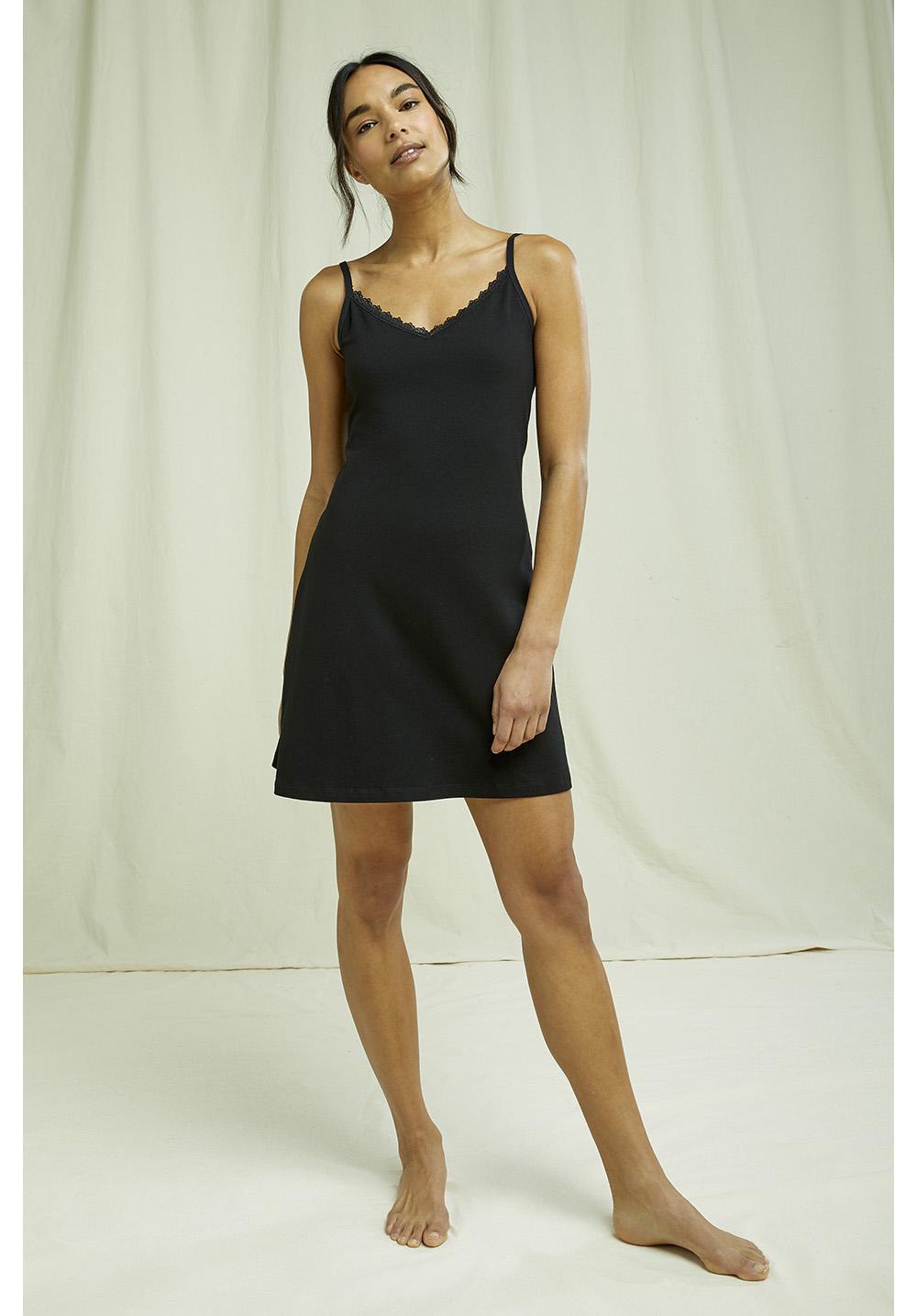 Lace Trim Slip In Black
