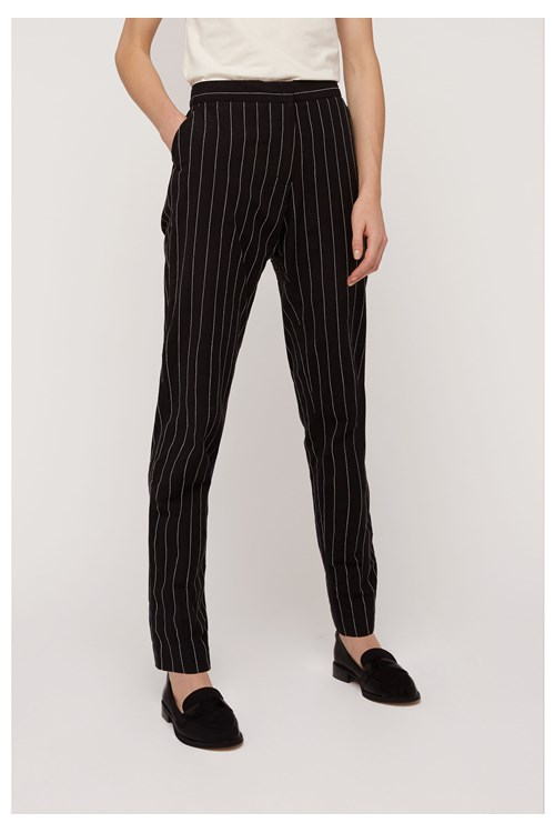 Corin Pinstripe Trousers In Black