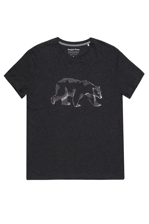 Bear Print Tee in Grey Melange