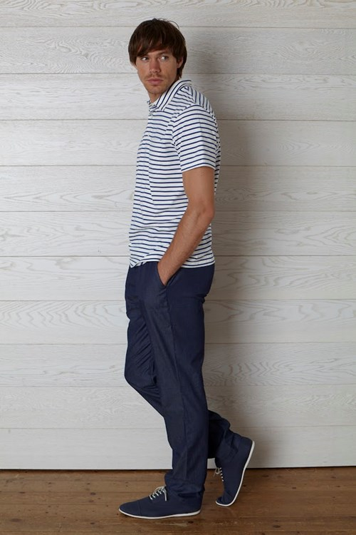 Joel Stripe Polo in Blue