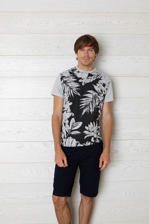 Jungle Print Tee in Grey Melange