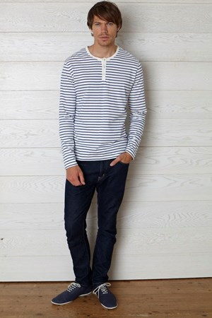 Lucas Stripe Long Sleeve Tee in Blue