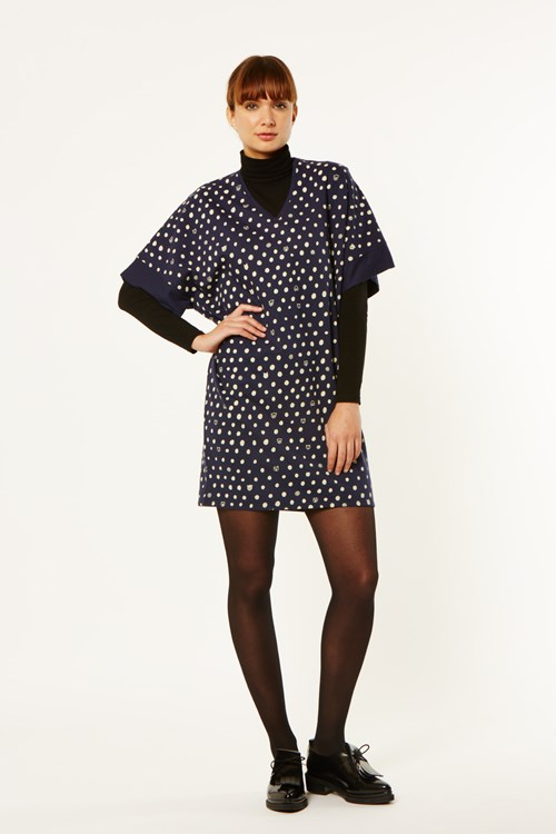 Dot Animals Kimono V Dress in Navy from People Tree
