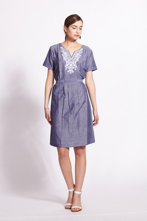 Lila Embroidered Dress in Blue