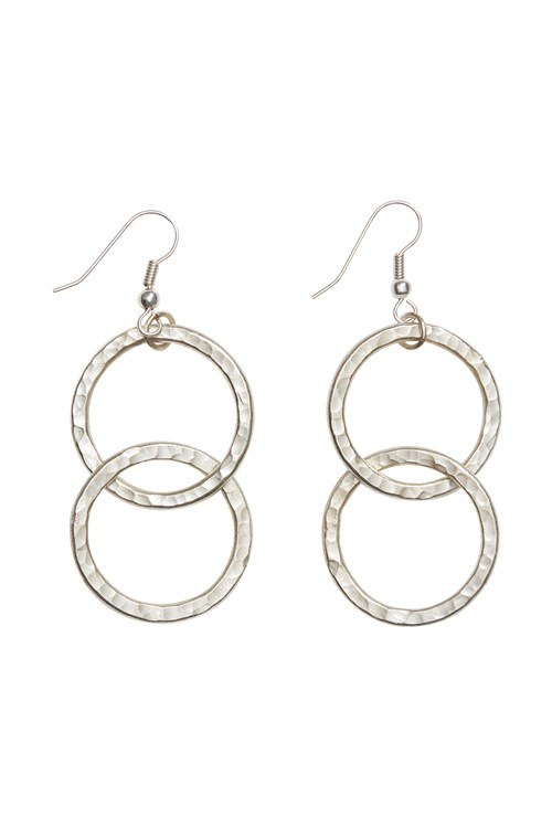 Double Circle Earrings in Silver