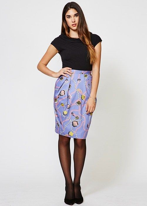 Purple Zandra Rhodes Skirt from People Tree