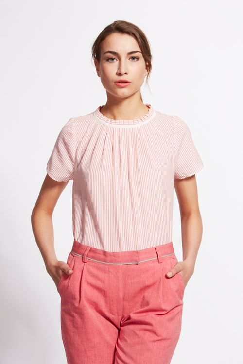 Ava Blouse in Coral Stripe from People Tree