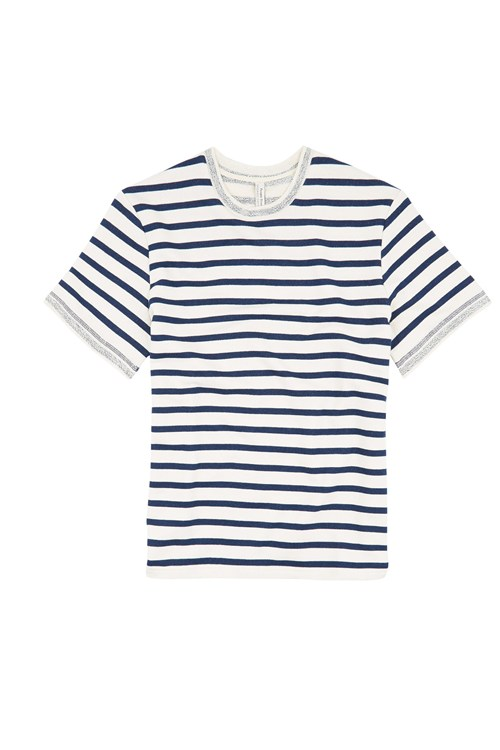 Archie Loopback Stripe Tee  in Navy Stripe