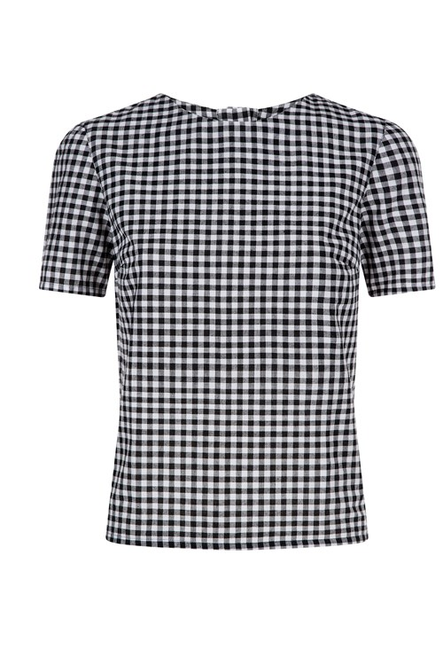 Bryony Gingham Top in Black