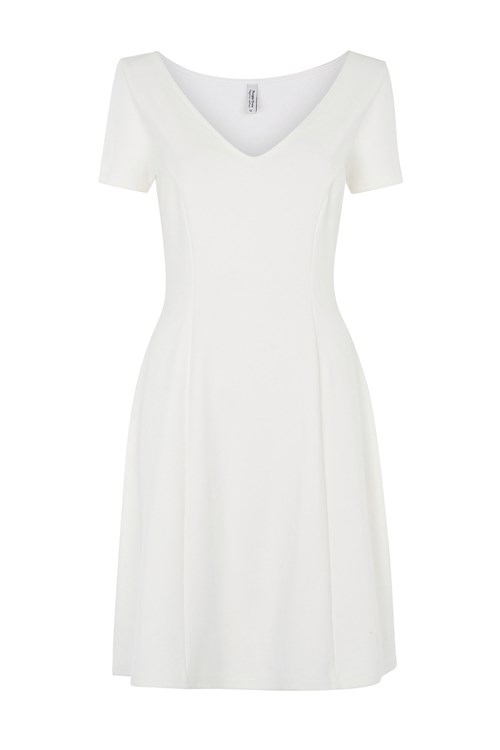 Caroline Flared Dress in Eco White from People Tree