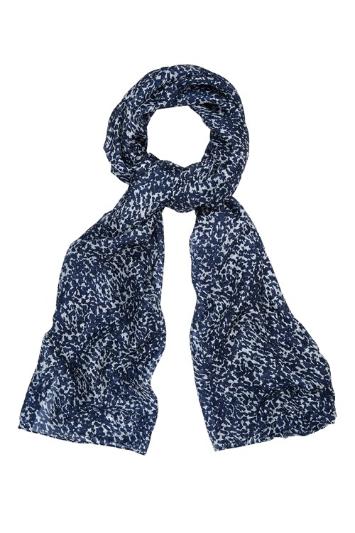 Abstract Silk Scarf in Navy
