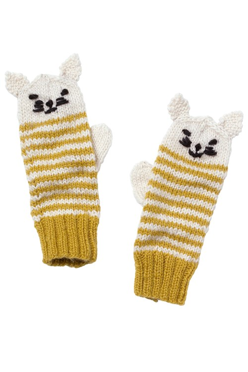 Cat Mittens in Yellow Stripe