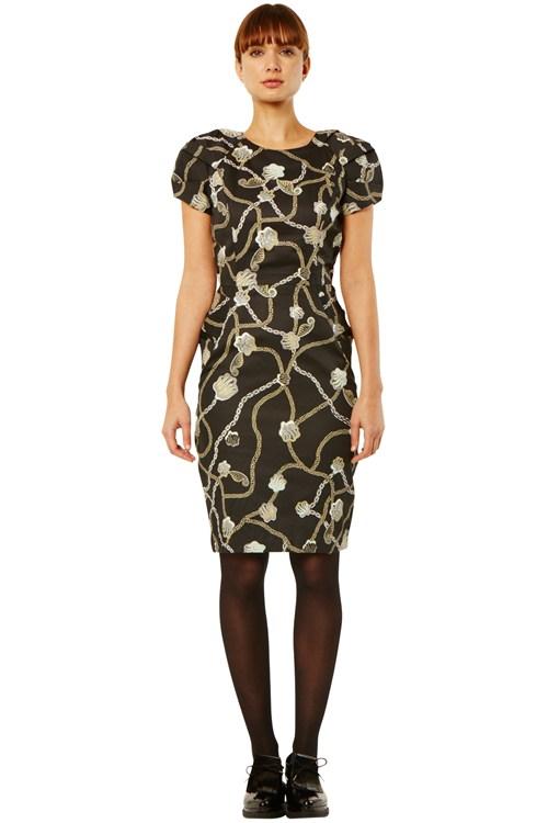 Black Zandra Rhodes Pencil Dress from People Tree