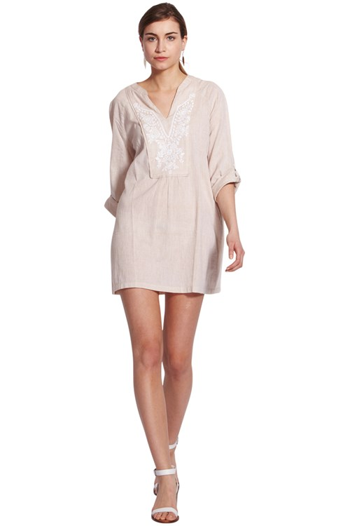 Susanna Embroidered Tunic in Beige