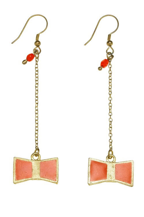 Bow Drop Earring in Red