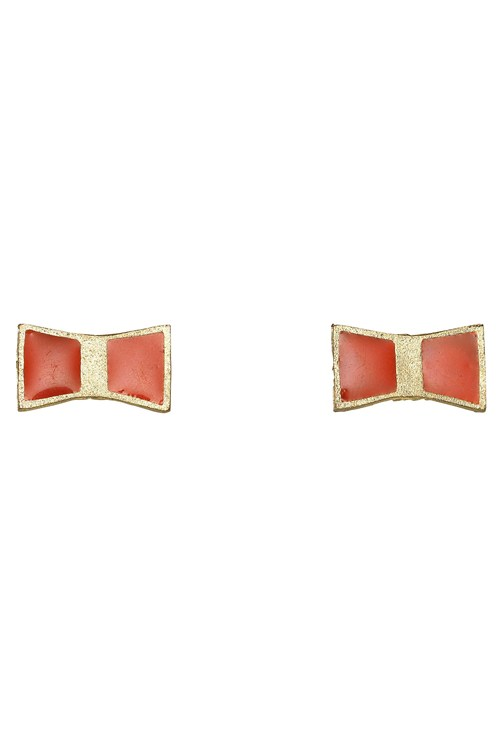 Bow Stud Earring in Red