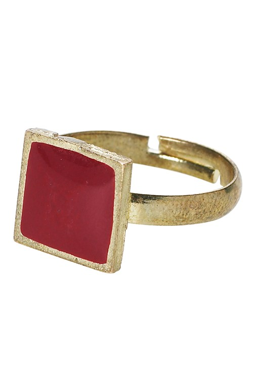 Enamel Square Ring in Red