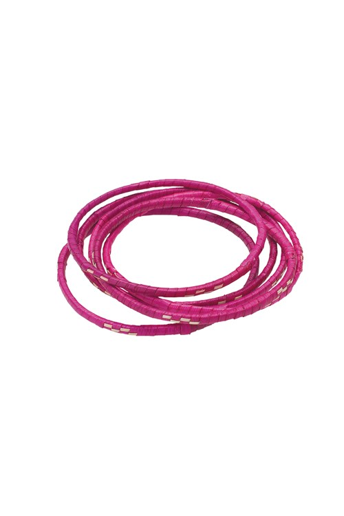 Palm Bangles Set of 6 in Pink from People Tree