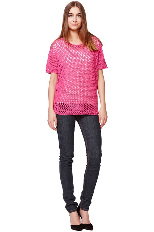 Hannah Open Knit Short Sleeve Jumper in Pink from People Tree