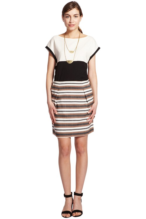 Tara Stripe Tuck Skirt in Brown