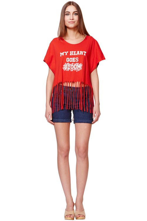 Simeon Farrar My Heart Goes Bloom Fringed Tee in Red