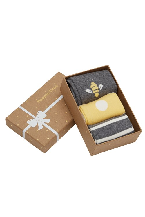 Bee Patterned Socks Set of 3 in box from People Tree