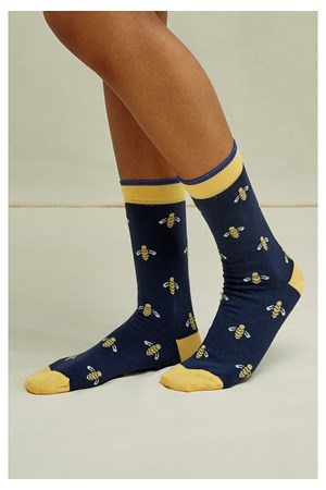 Bee Socks Blue & Yellow
