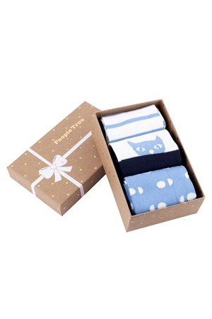 Blue Patterned Socks Set of 3 in box