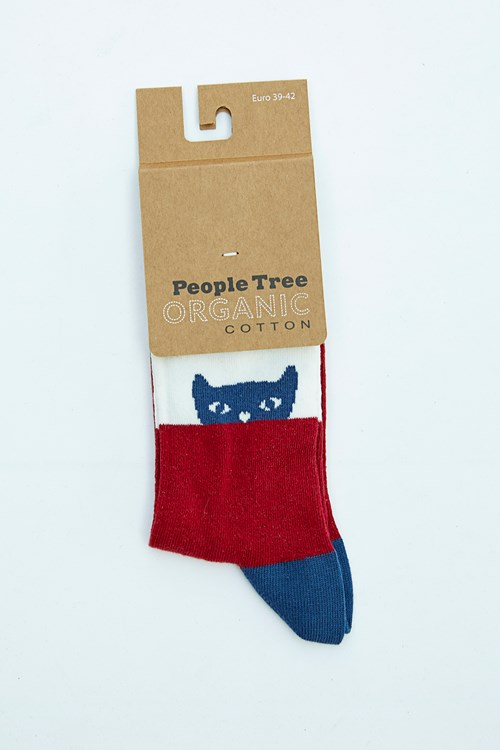 Cat Socks in Blue and Red