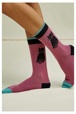 Cat Socks in Mauve
