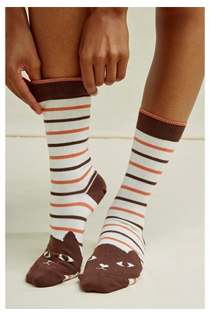 Cat Striped Socks in Brown