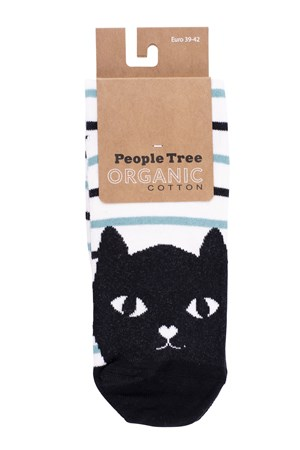 Cat Striped Socks In Green